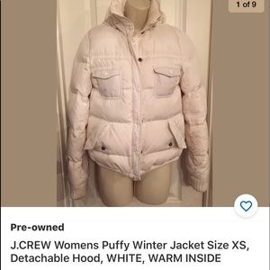 J.CREW Puffy Winter Jacket XS Detachable Hood